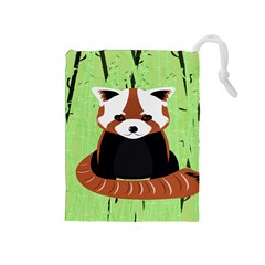 Red Panda Bamboo Firefox Animal Drawstring Pouches (medium)  by Nexatart