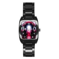 Red 3d  Computer Work Stainless Steel Barrel Watch