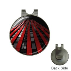 Red Building City Hat Clips With Golf Markers