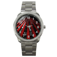 Red Building City Sport Metal Watch