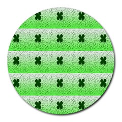Shamrock Pattern Background Round Mousepads