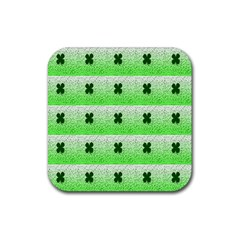 Shamrock Pattern Background Rubber Square Coaster (4 Pack)