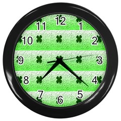 Shamrock Pattern Background Wall Clocks (black)