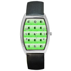 Shamrock Pattern Background Barrel Style Metal Watch