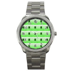 Shamrock Pattern Background Sport Metal Watch