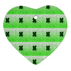 Shamrock Pattern Background Heart Ornament (two Sides)