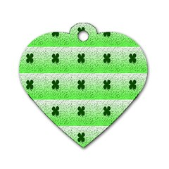 Shamrock Pattern Background Dog Tag Heart (two Sides)