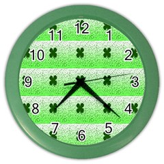 Shamrock Pattern Background Color Wall Clocks