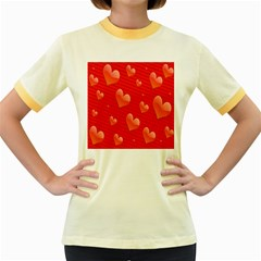Red Hearts Women s Fitted Ringer T Shirts