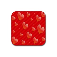 Red Hearts Rubber Coaster (square)