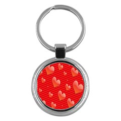 Red Hearts Key Chains (round)