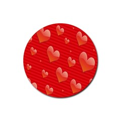 Red Hearts Rubber Round Coaster (4 Pack)