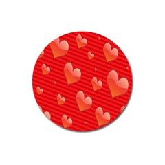Red Hearts Magnet 3  (round)