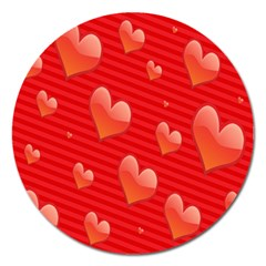 Red Hearts Magnet 5  (round)