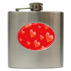 Red Hearts Hip Flask (6 Oz)