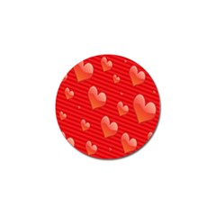 Red Hearts Golf Ball Marker by Nexatart