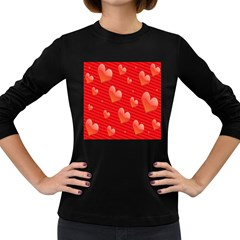 Red Hearts Women s Long Sleeve Dark T Shirts