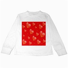 Red Hearts Kids Long Sleeve T Shirts