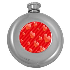Red Hearts Round Hip Flask (5 Oz)