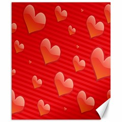 Red Hearts Canvas 8  X 10