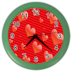 Red Hearts Color Wall Clocks