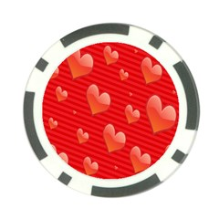 Red Hearts Poker Chip Card Guard (10 Pack)