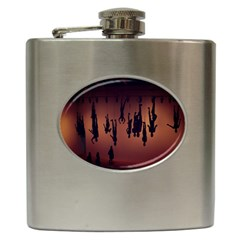 Silhouette Of Circus People Hip Flask (6 Oz)