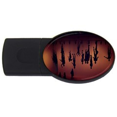 Silhouette Of Circus People Usb Flash Drive Oval (2 Gb)