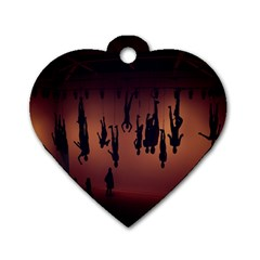 Silhouette Of Circus People Dog Tag Heart (two Sides)