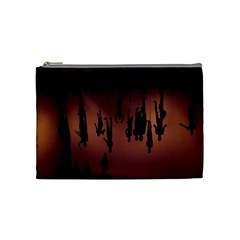 Silhouette Of Circus People Cosmetic Bag (medium)