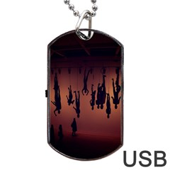 Silhouette Of Circus People Dog Tag Usb Flash (one Side)