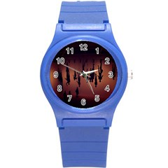 Silhouette Of Circus People Round Plastic Sport Watch (s)