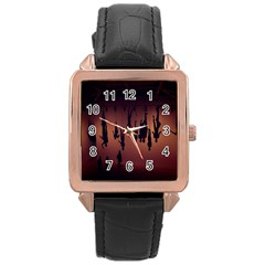 Silhouette Of Circus People Rose Gold Leather Watch