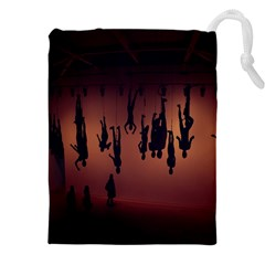 Silhouette Of Circus People Drawstring Pouches (xxl)