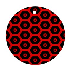 Red Bee Hive Texture Ornament (round)
