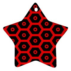 Red Bee Hive Texture Ornament (star)