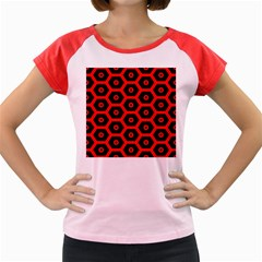 Red Bee Hive Texture Women s Cap Sleeve T Shirt