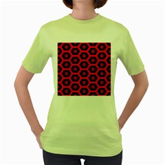 Red Bee Hive Texture Women s Green T Shirt
