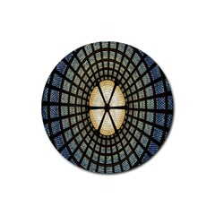 Stained Glass Colorful Glass Rubber Coaster (round)