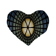 Stained Glass Colorful Glass Standard 16  Premium Flano Heart Shape Cushions by Nexatart