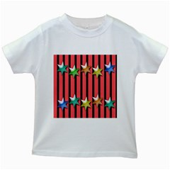 Star Christmas Greeting Kids White T Shirts by Nexatart