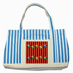 Star Christmas Greeting Striped Blue Tote Bag by Nexatart