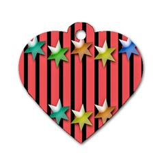Star Christmas Greeting Dog Tag Heart (two Sides) by Nexatart
