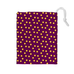 Star Christmas Red Yellow Drawstring Pouches (large)  by Nexatart
