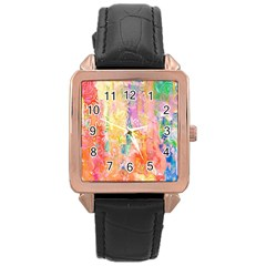 Watercolour Watercolor Paint Ink  Rose Gold Leather Watch  by Nexatart