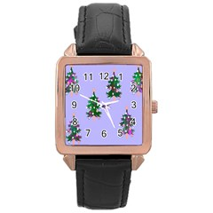 Watercolour Paint Dripping Ink  Rose Gold Leather Watch  by Nexatart