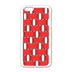 Weave And Knit Pattern Seamless Background Wallpaper Apple Iphone 6/6s White Enamel Case by Nexatart