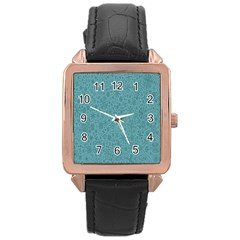 White Noise Snow Blue Rose Gold Leather Watch  by Jojostore