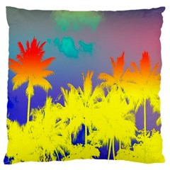 Tropical Cool Coconut Tree Large Cushion Case (two Sides)