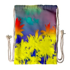 Tropical Cool Coconut Tree Drawstring Bag (large)